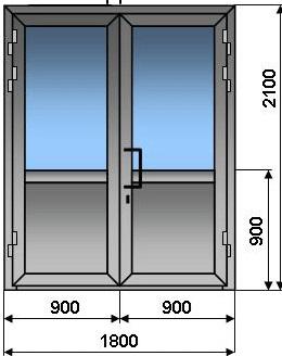 Алюминиевая дверь  двухстворчатая  штульповая 1800* 2100