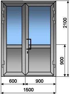 Алюминиевая дверь двухстворчатая  штульповая 1500 *2100