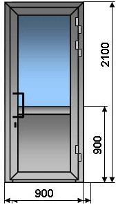 Алюминиевая дверь одностворчатая